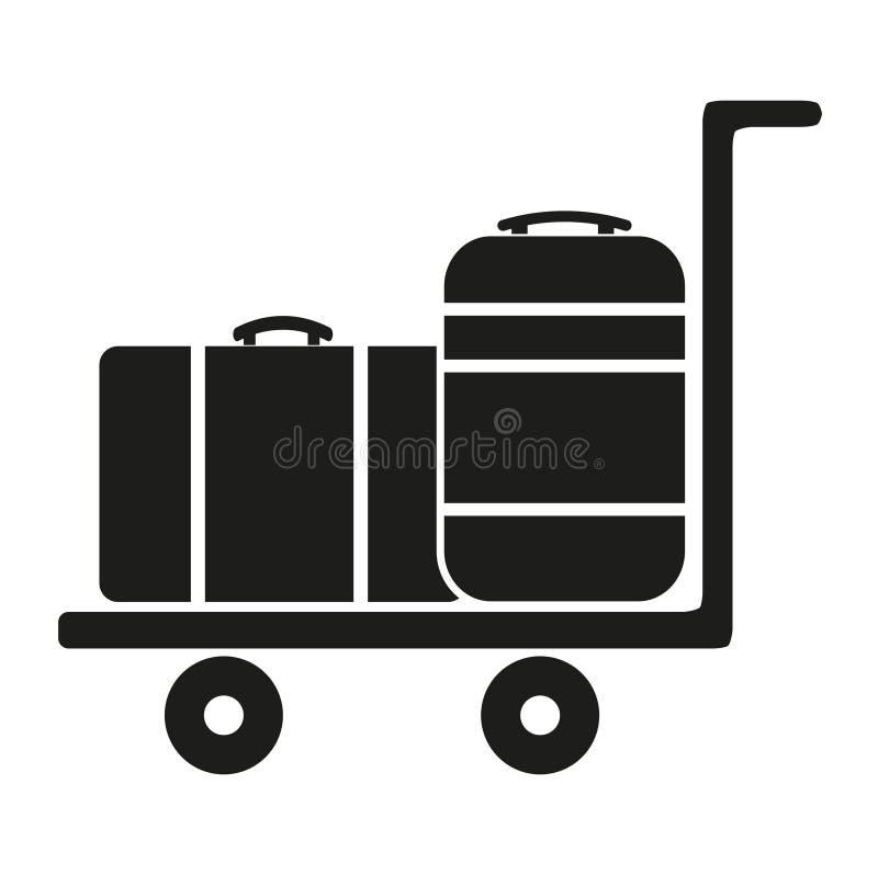 Bagaż fura Z walizką na białym tle