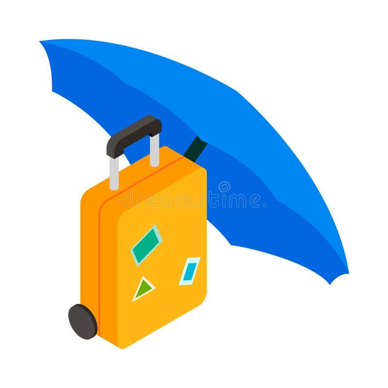 Bagaż pod parasolową ikoną, isometric 3d styl ilustracji