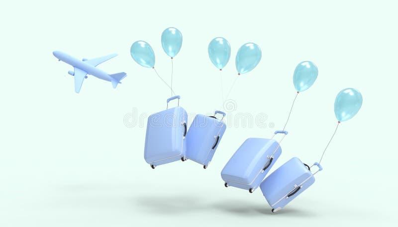 Bagaż torby Samolotowa błękitna pasta Cztery i balonów wakacje letni na błękitnym pasty tle royalty ilustracja