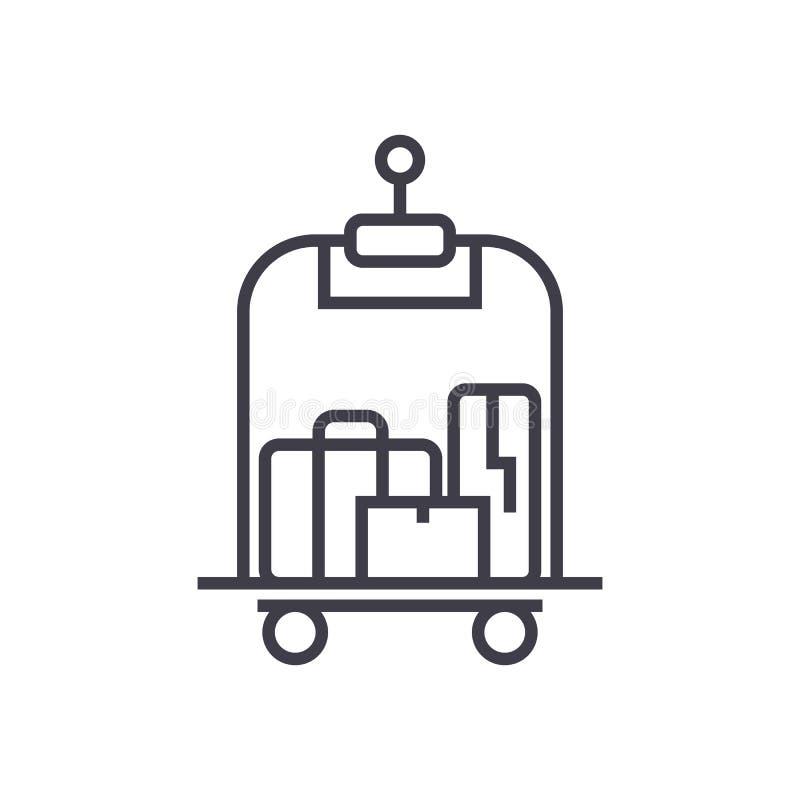 Bagaż w hotelowej wektor linii ikonie, znak, ilustracja na tle, editable uderzenia ilustracji