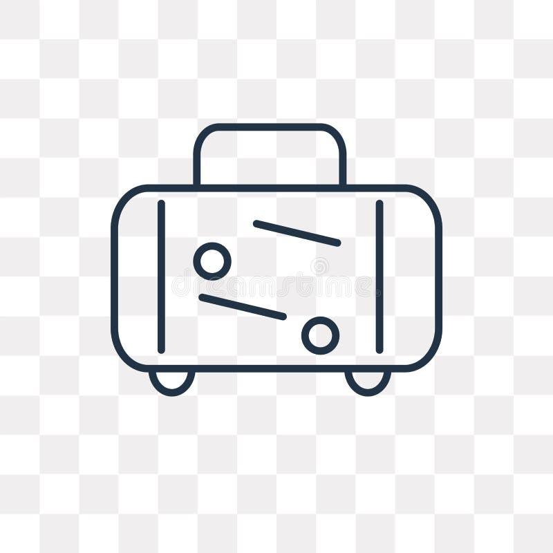 Bagaż wektorowa ikona odizolowywająca na przejrzystym tle, liniowy L royalty ilustracja