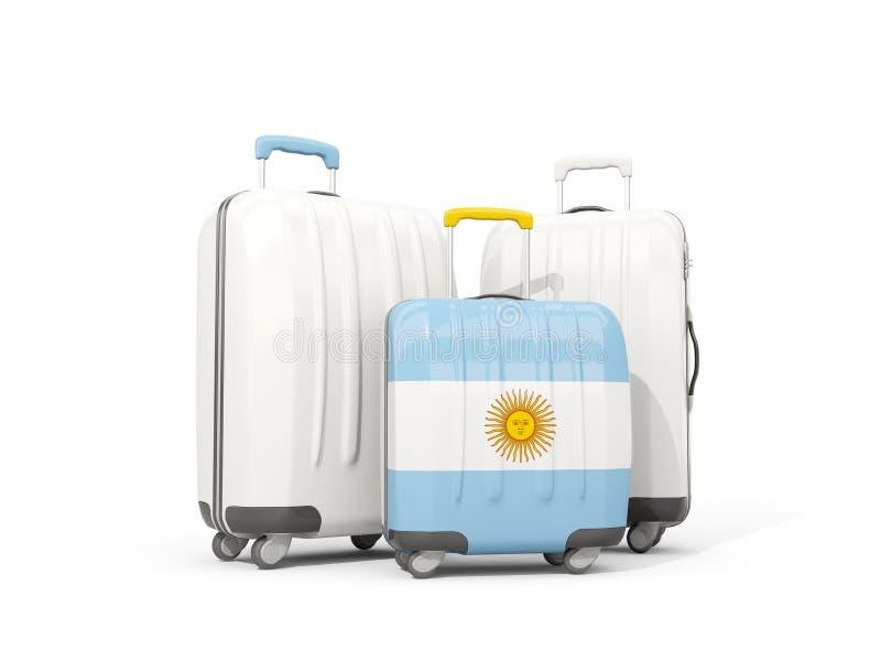 Bagaż z flaga Argentina Trzy torby odizolowywającej na bielu royalty ilustracja
