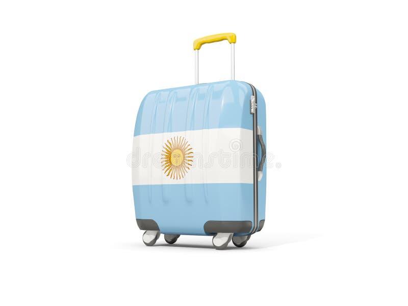 Bagaż z flaga Argentina Walizka odizolowywająca na biel royalty ilustracja
