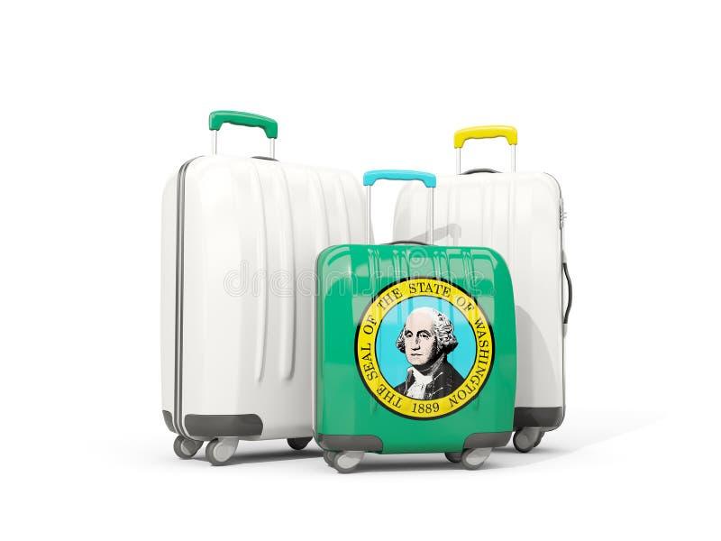 Bagaż z flaga Washington Trzy torby z zlanymi stanami l royalty ilustracja