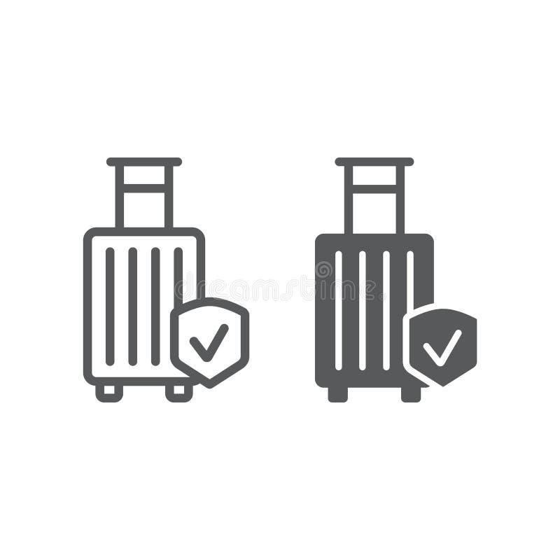 Bagażowego ubezpieczenia linia, glif ikona, ochrona i bagaż, podróżujemy zbawczego znaka, wektorowe grafika, liniowy wzór dalej ilustracja wektor