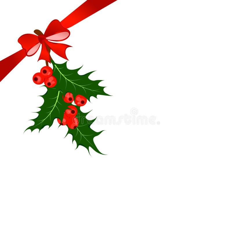 Baga do azevinho Ilustração do vetor do símbolo do Natal ilustração stock