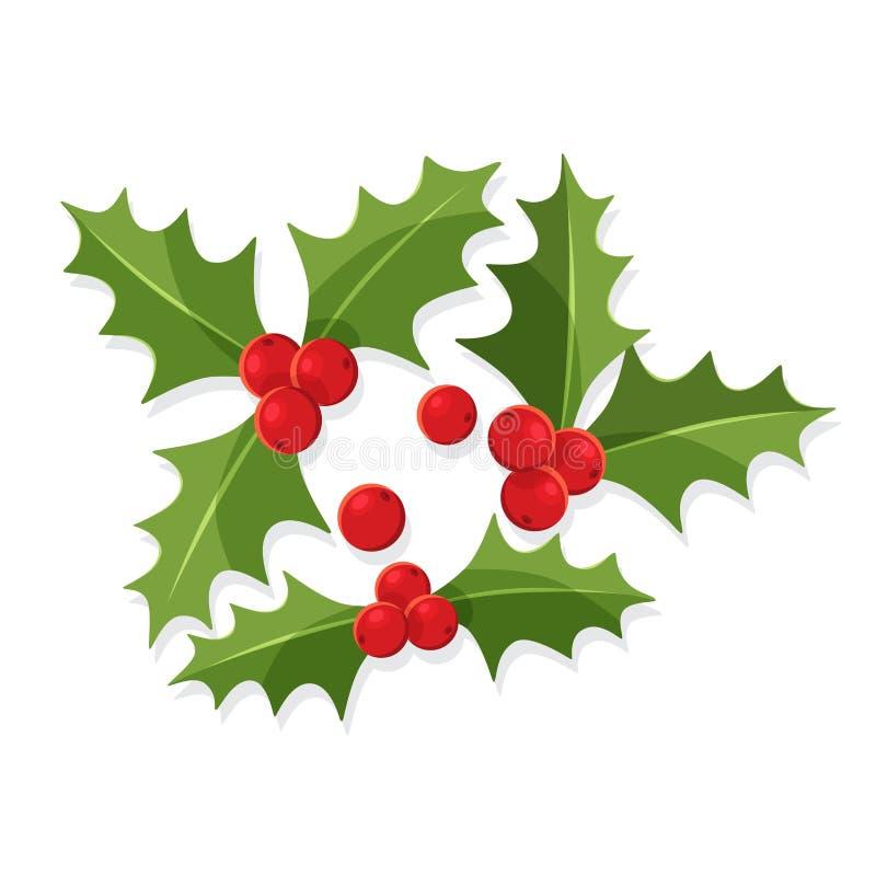 A baga do azevinho do Natal sae, símbolo do Feliz Natal e ano novo feliz ilustração stock
