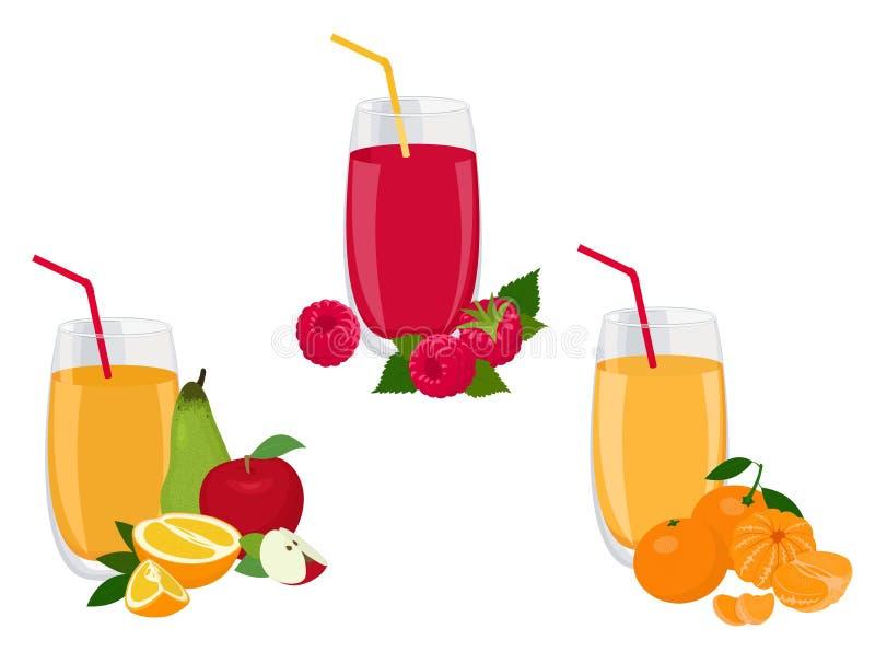 Baga e batido de fruta, dieta suculenta saudável da bebida da vitamina ou conceito do alimento do vegetariano, vitaminas frescas  ilustração do vetor