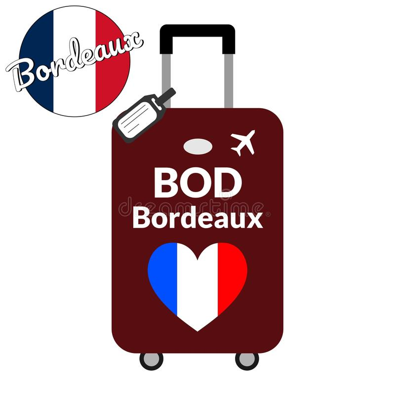 Bagage avec le Bordeaux de nom de ville du code de station d'aéroport l'A.I.T.A ou de l'identificateur et de la destination d'emp illustration stock