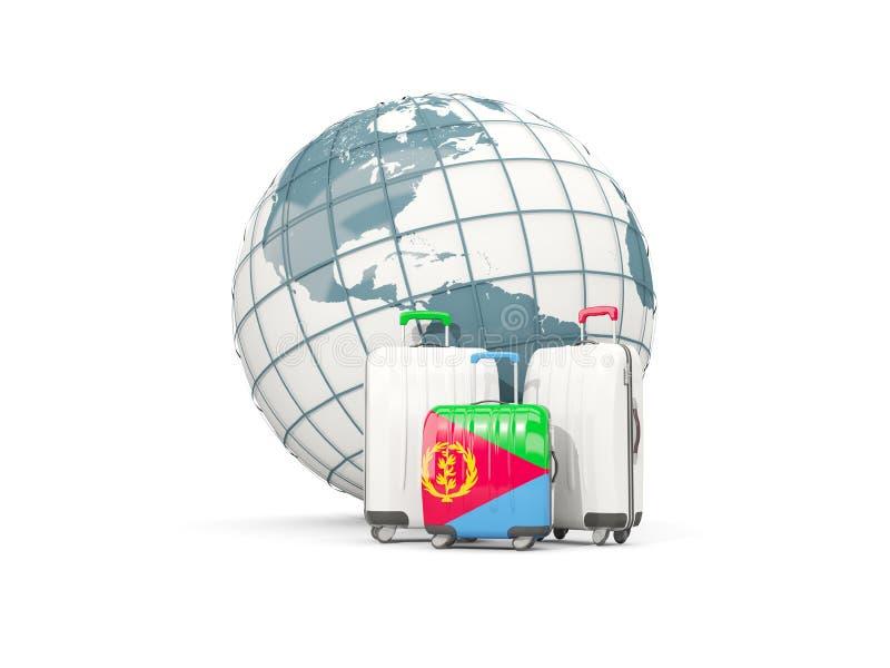 Bagage avec le drapeau de l'Érythrée Trois sacs devant le globe illustration de vecteur