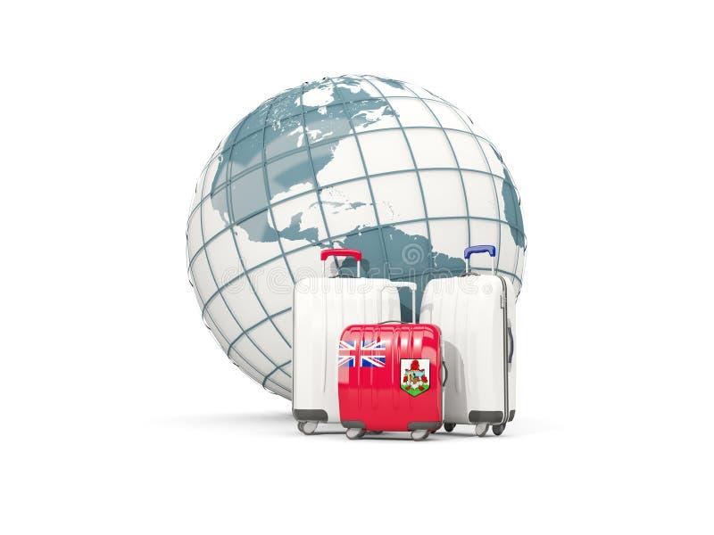 Bagage avec le drapeau des Bermudes Trois sacs devant le globe illustration libre de droits