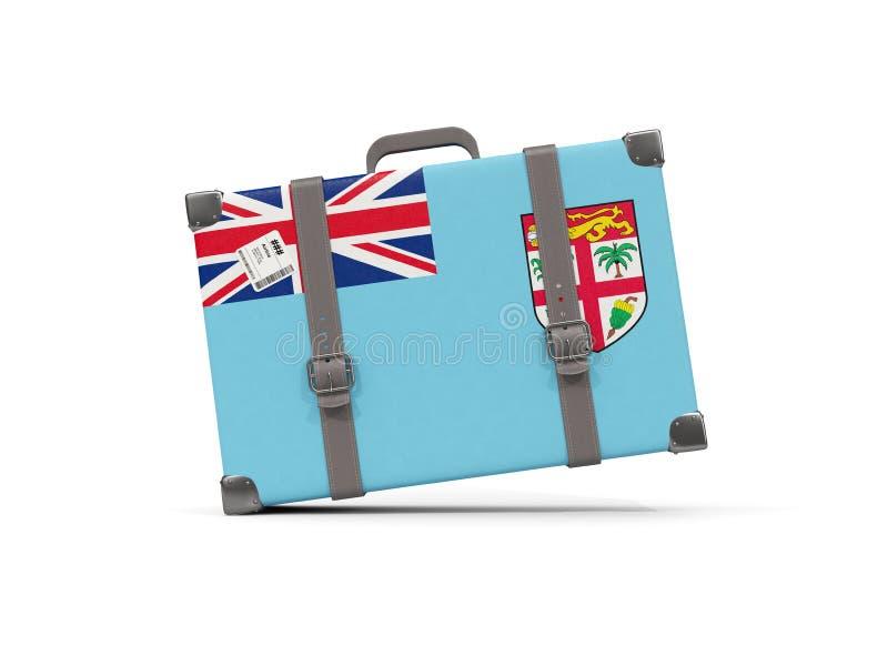 Bagage avec le drapeau du Fiji Valise d'isolement sur le blanc illustration stock