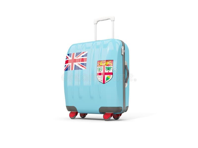 Bagage avec le drapeau du Fiji Valise d'isolement sur le blanc illustration de vecteur