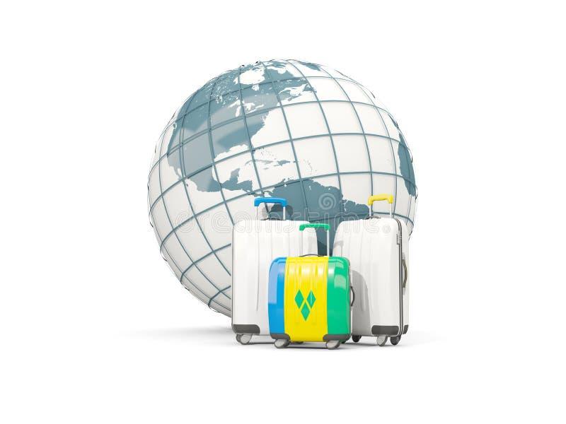 Bagage avec le drapeau du Saint-Vincent-et-les Grenadines Sac trois illustration de vecteur