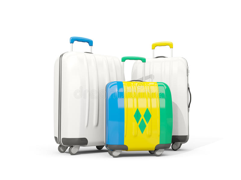 Bagage avec le drapeau du Saint-Vincent-et-les Grenadines Sac trois illustration stock