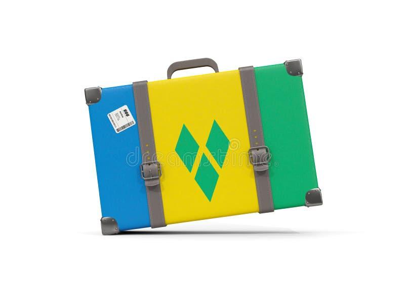 Bagage avec le drapeau du Saint-Vincent-et-les Grenadines valise illustration libre de droits