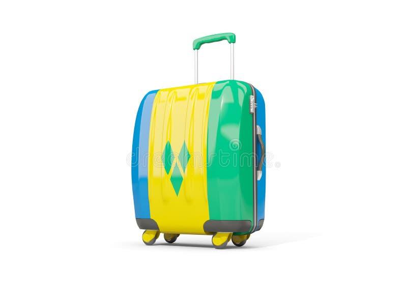 Bagage avec le drapeau du Saint-Vincent-et-les Grenadines valise illustration stock