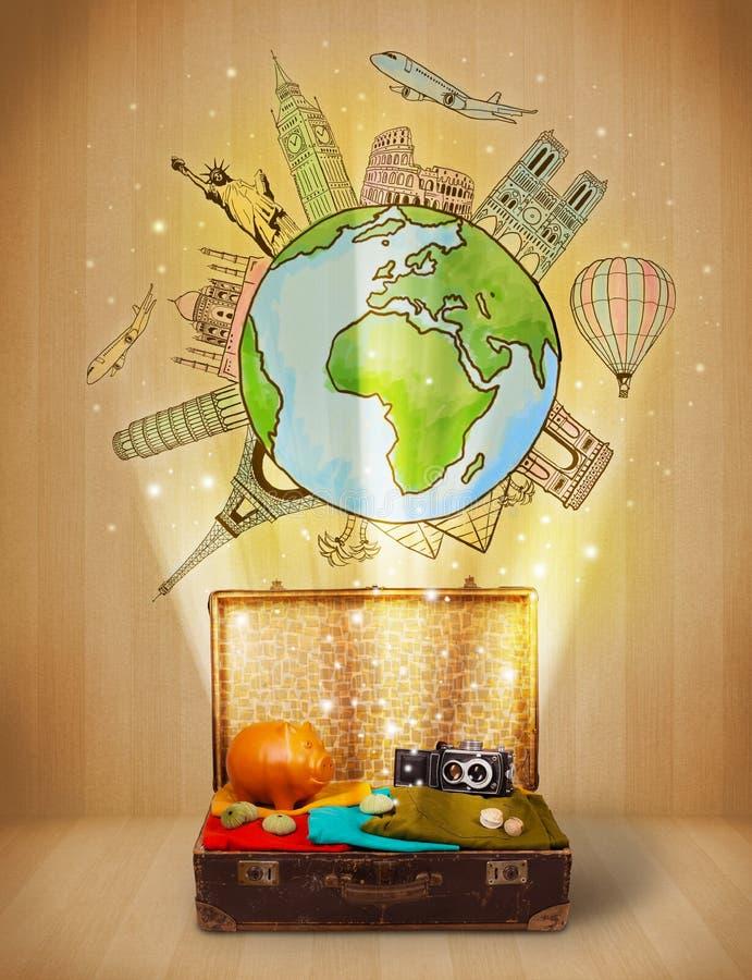 Bagage Avec Le Voyage Autour Du Concept D Illustration Du Monde Images stock