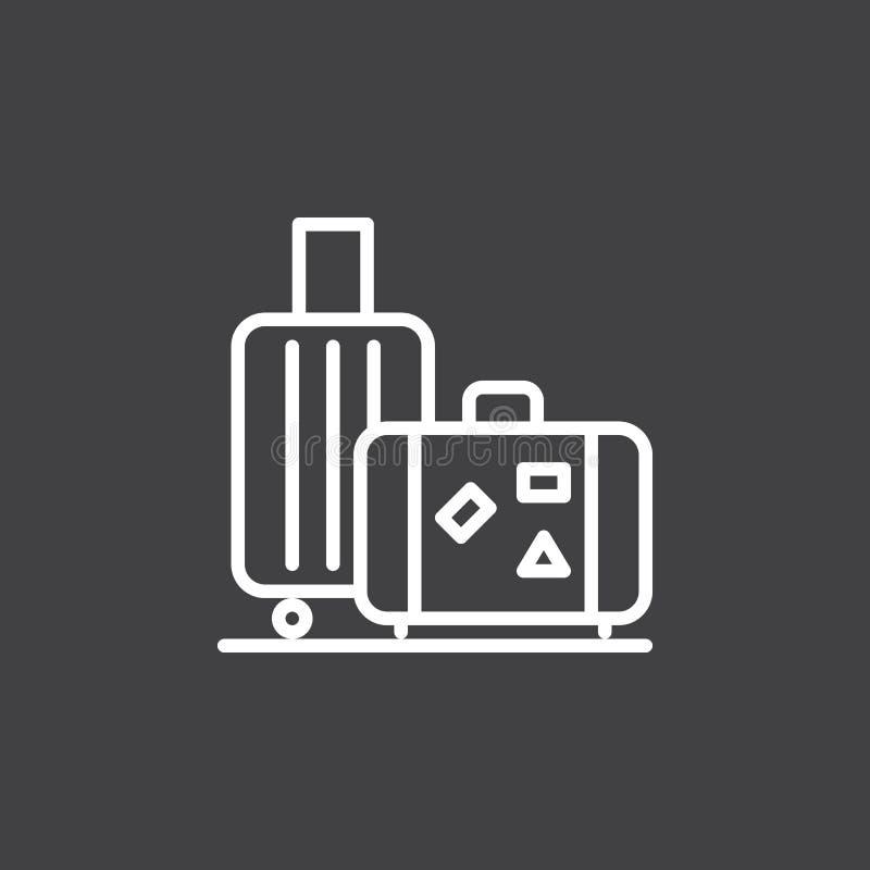 Bagage bagagelinje symbol, översiktsvektortecken, linjär vit pictogram som isoleras på svart royaltyfri illustrationer