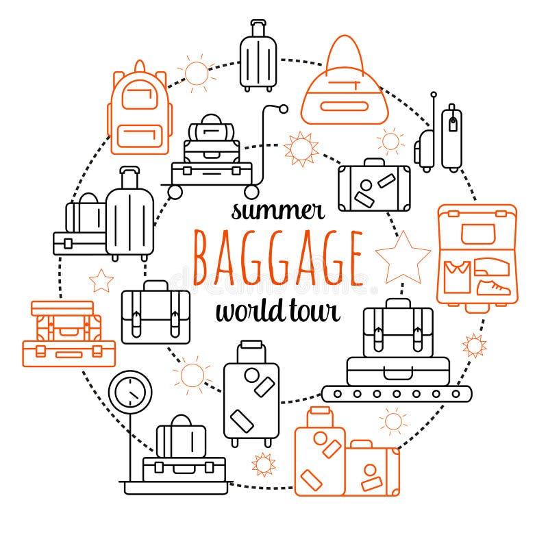 Bagage bagagelinje symbol vektor illustrationer