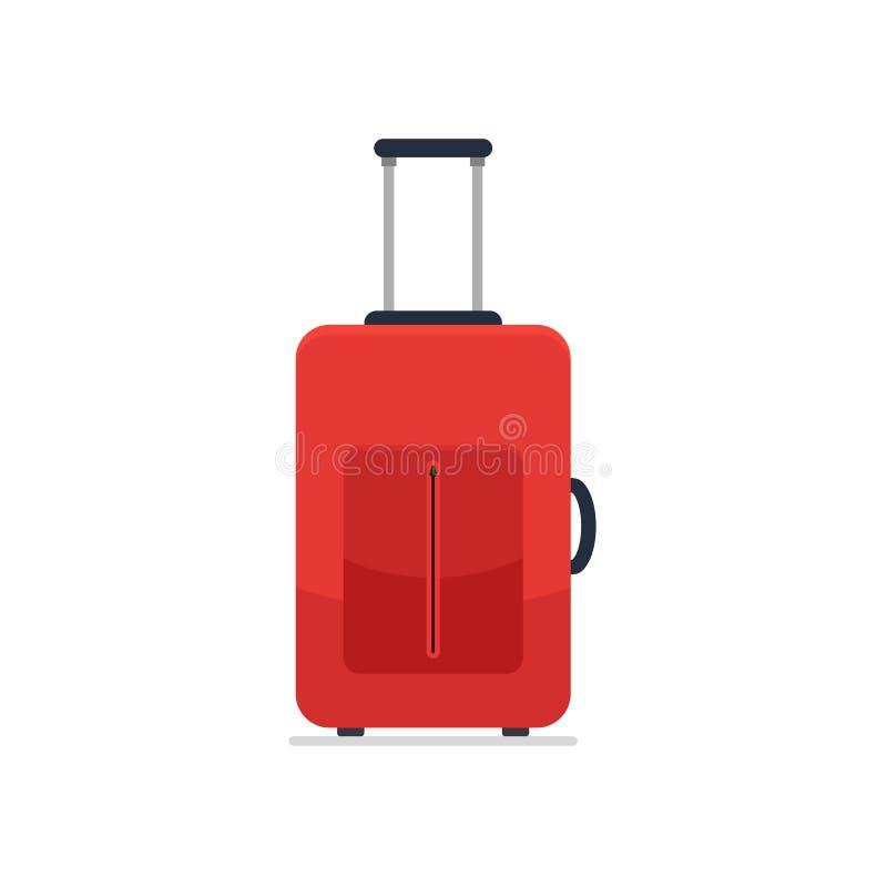 Bagage d'icône Valise rouge de style plat Affaires et bagage de vacances d'été de famille Illustration de vecteur illustration de vecteur