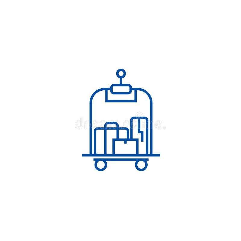 Bagage dans la ligne concept d'hôtel d'icône Bagage dans le symbole plat de vecteur d'hôtel, signe, illustration d'ensemble illustration libre de droits