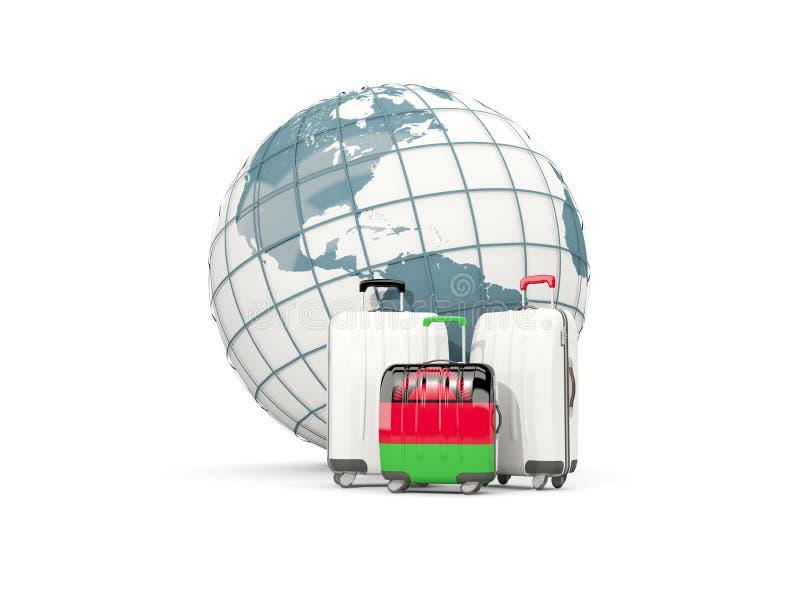 Bagage med flaggan av Malawi Tre påsar framme av jordklot royaltyfri illustrationer