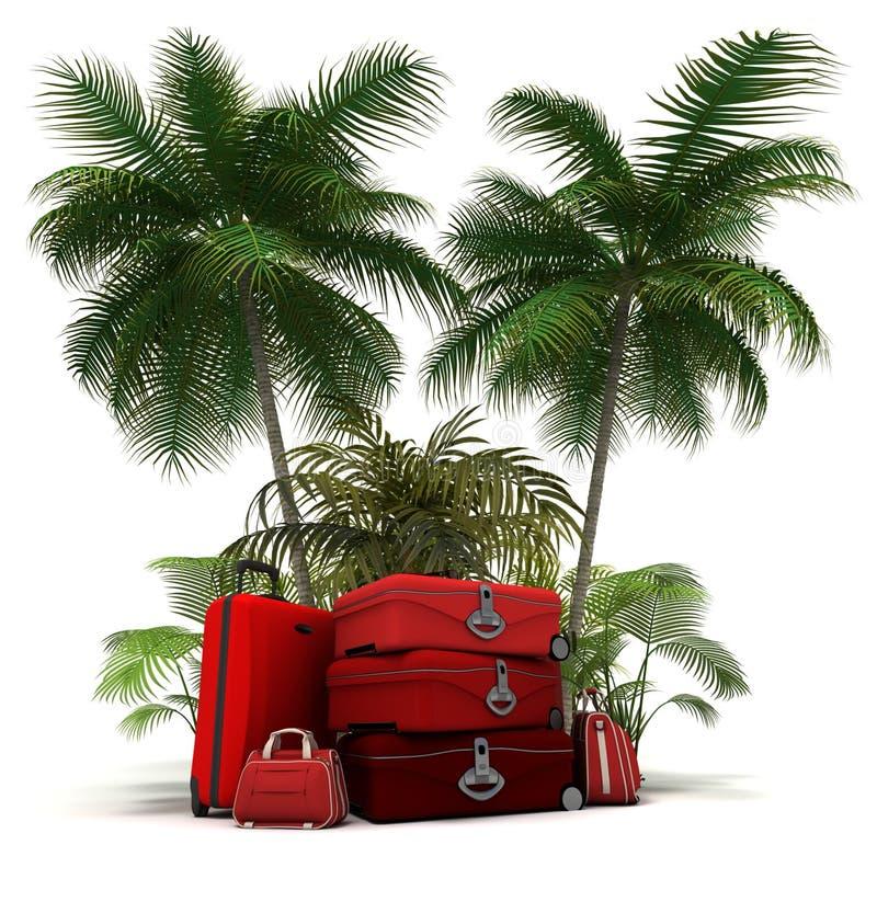 Bagage rouge dans les tropiques illustration de vecteur