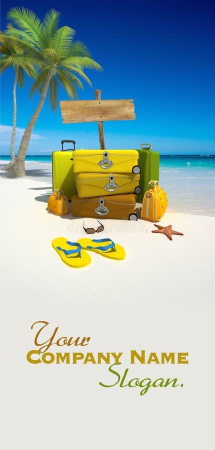 Bagage sur la plage illustration libre de droits