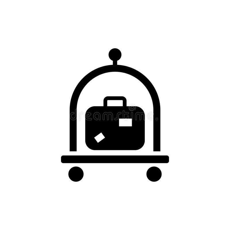 Bagage bagage, symbol för resväskaspårvagnvektor stock illustrationer