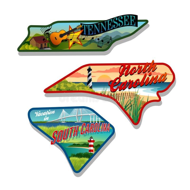 Bagageklistermärkear Tennessee, South Carolina, North Carolina royaltyfri illustrationer