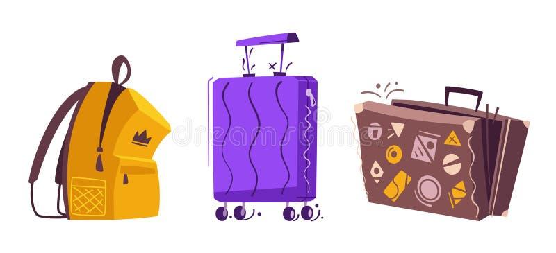 Bagagem ajustada para o curso Ilustra??o do vetor dos desenhos animados ilustração stock