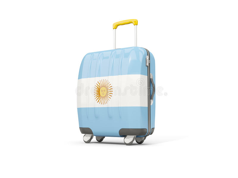 Bagagem com a bandeira de Argentina Mala de viagem isolada no branco ilustração royalty free