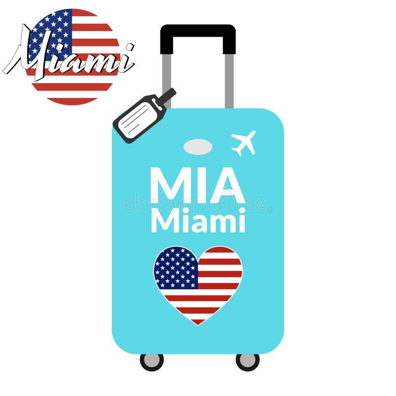 Bagagem com nome Miami da cidade do código de estação IATA do aeroporto ou do identificador e do destino do lugar, MIA Curso ao u ilustração do vetor