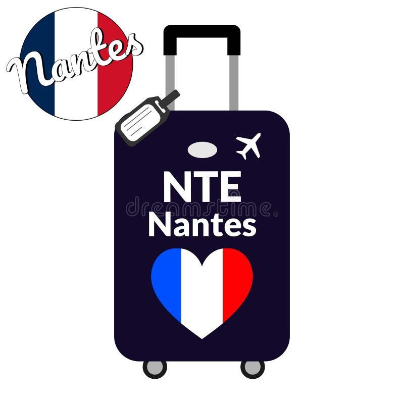 Bagagem com nome Nantes da cidade do código de estação IATA do aeroporto ou do identificador e do destino do lugar, NTE Curso a F ilustração royalty free