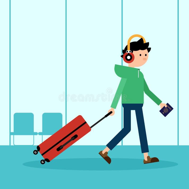 A bagagem de arrasto do passageiro e prepara-se para o curso no exterior em um a ilustração stock