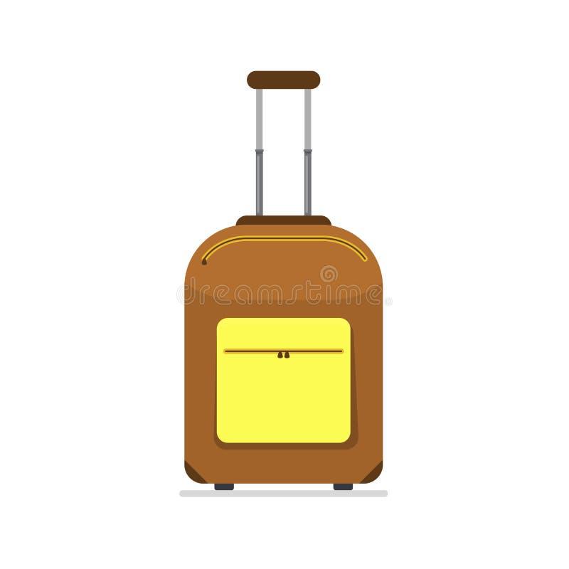 Bagagem do ícone Mala de viagem marrom do turista do estilo liso Negócio e bagagem das férias de verão da família Ilustração do v ilustração stock