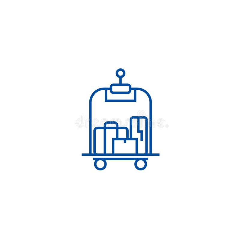 Bagagem na linha conceito do hotel do ícone Bagagem no símbolo liso do vetor do hotel, sinal, ilustração do esboço ilustração royalty free