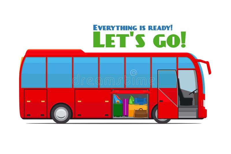 Bagagem no ônibus de turista ilustração royalty free