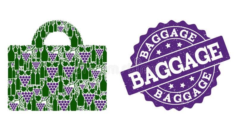 Bagagemozaïek van Wijnflessen en Druif en Grunge-Zegel royalty-vrije illustratie