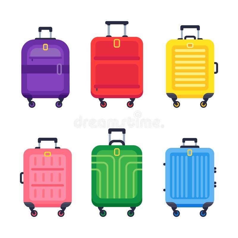 Bagageresväska Färgrika plast- resväskor för flygplatsloppbagage med handtaget och den spårvagn isolerade plana vektoruppsättning royaltyfri illustrationer