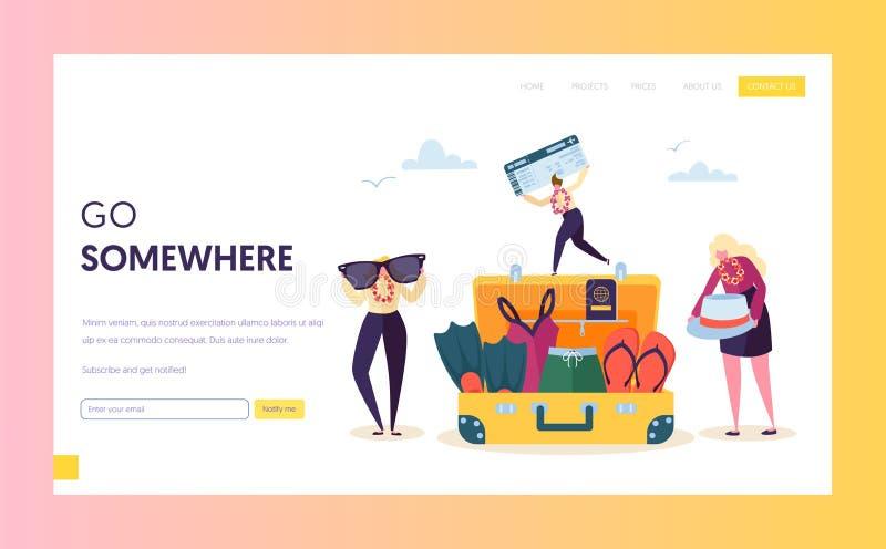 Bagages de emballage de caractère d'affaires pour la page d'atterrissage de vacances L'homme et la femme disposent le sac pour su illustration de vecteur