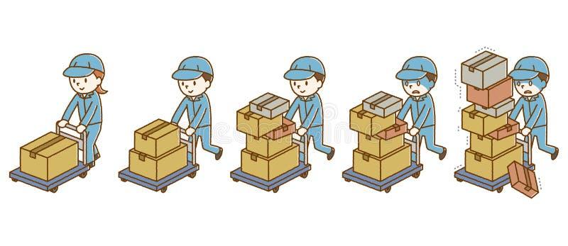 Bagages de transport de personnes sur un transporteur illustration de vecteur