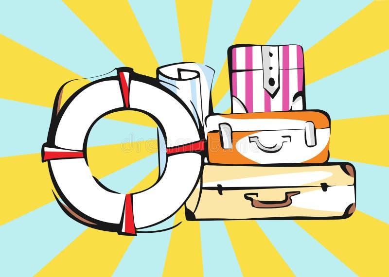 Bagages de voyage sur le fond de rayons dans le r?tro style de bande dessin?e illustration stock