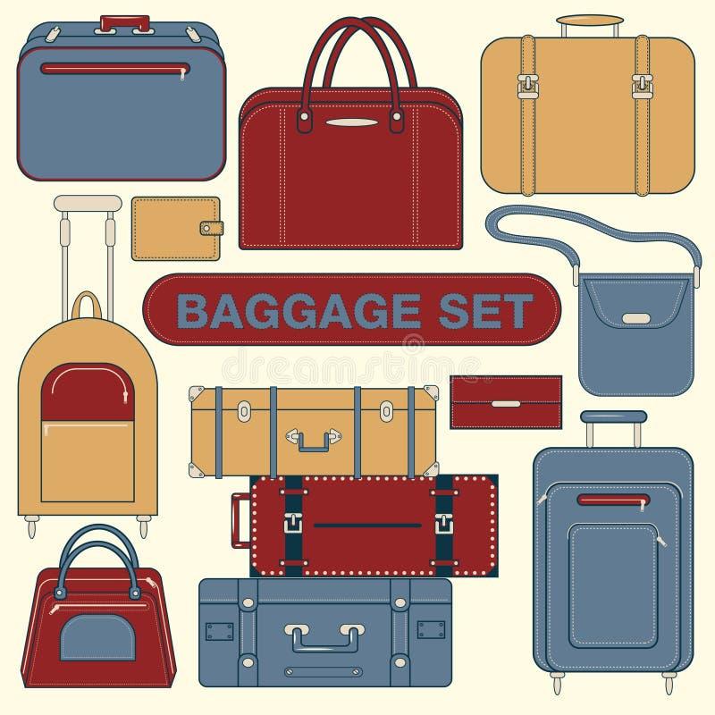 Bagages réglés pendant le temps de déplacement illustration libre de droits