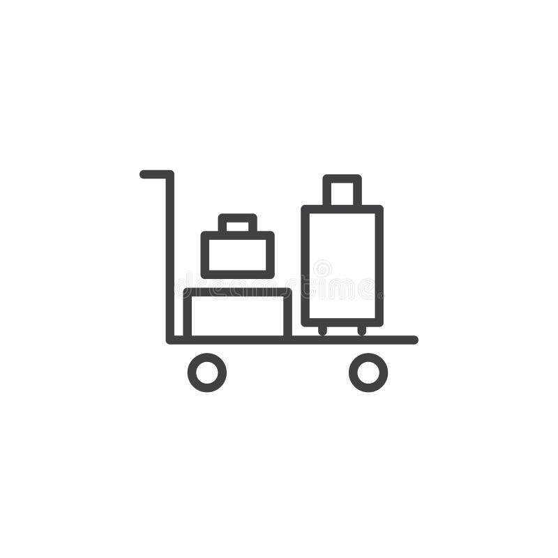 Bagagespårvagnlinje symbol, översiktsvektortecken, linjär stilpictogram som isoleras på vit stock illustrationer