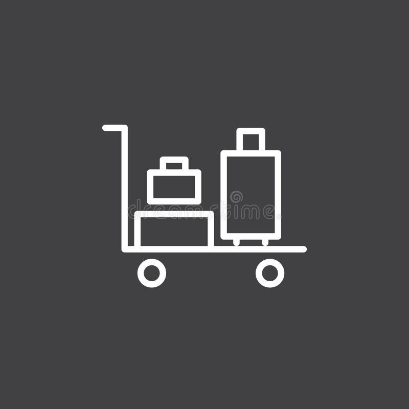 Bagagespårvagnlinje symbol, översiktsvektortecken, linjär vit pictogram vektor illustrationer