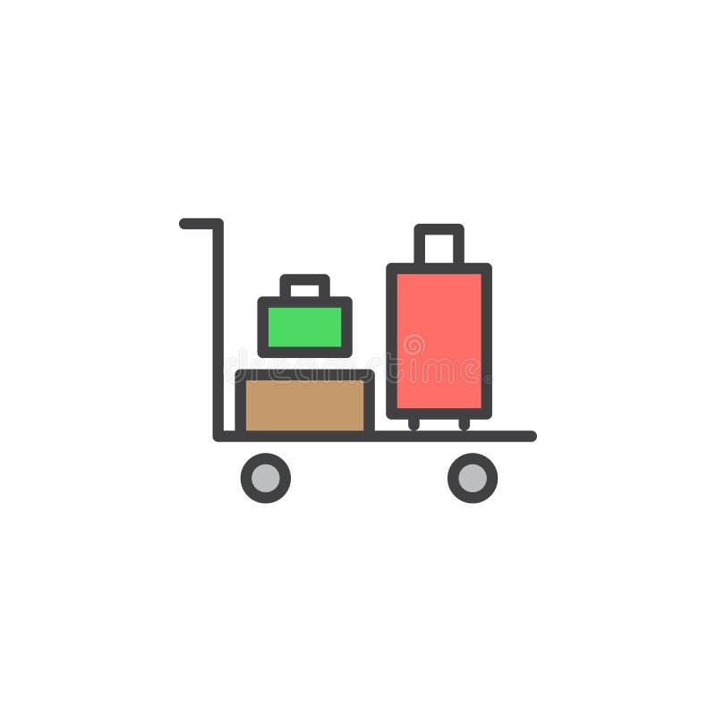 Bagagespårvagnlinje symbol, fyllt översiktsvektortecken, linjär färgrik pictogram som isoleras på vit stock illustrationer