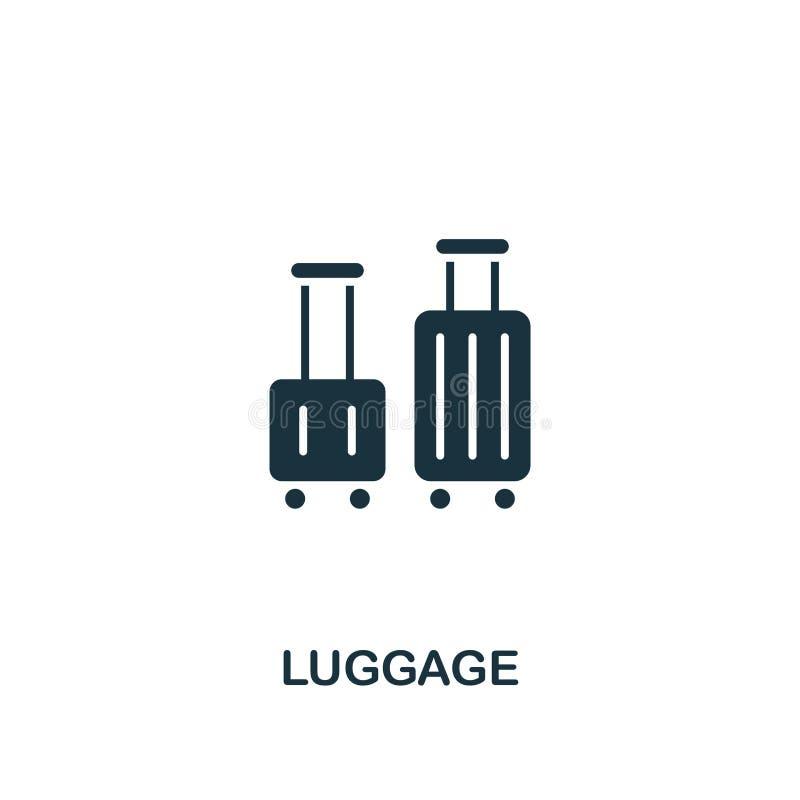 Bagagesymbol Idérik beståndsdeldesign från turismsymbolssamling Perfekt bagagesymbol för PIXEL för rengöringsdukdesign, apps, pro royaltyfri illustrationer