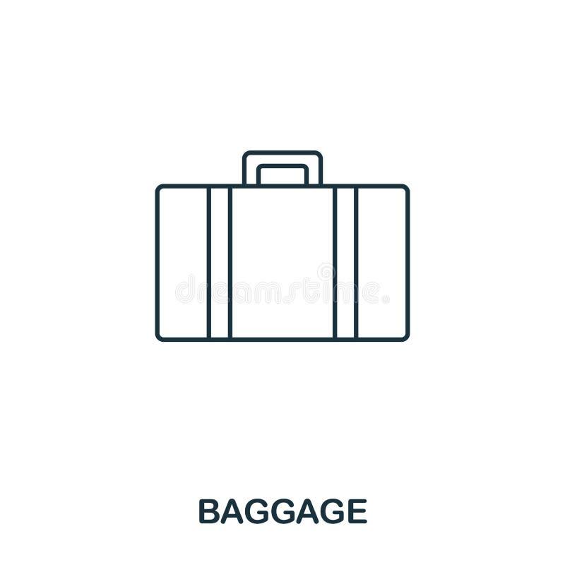 Bagagesymbol Tunn linje stil för översikt från flygplatssymbolssamling Perfekt bagagesymbol för PIXEL för rengöringsdukdesign, ap vektor illustrationer